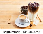 cup of coffee or espresso  iced ... | Shutterstock . vector #1346360090