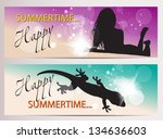 summer horizontal banners with... | Shutterstock .eps vector #134636603