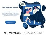 male insomniac lying with... | Shutterstock .eps vector #1346377313