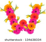 W  Flower Alphabet Isolated On...