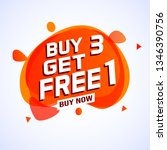 buy 3 get 1 free sale tag.... | Shutterstock .eps vector #1346390756