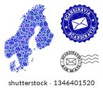 post collage of blue mosaic map ... | Shutterstock .eps vector #1346401520
