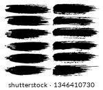 set of brush strokes  black ink ... | Shutterstock .eps vector #1346410730