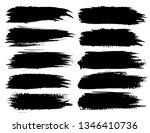 set of brush strokes  black ink ... | Shutterstock .eps vector #1346410736