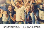 group of happy fans are... | Shutterstock . vector #1346415986