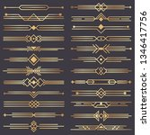 art deco divider. gold retro... | Shutterstock . vector #1346417756