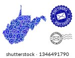 post combination of blue mosaic ... | Shutterstock .eps vector #1346491790