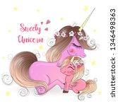 two hand drawn cute unicorn... | Shutterstock .eps vector #1346498363