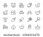 set of baby and childhood line... | Shutterstock .eps vector #1346521670