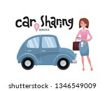 online carsharing. woman book... | Shutterstock .eps vector #1346549009
