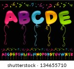 colorful set of party balloons... | Shutterstock .eps vector #134655710
