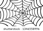 black cobweb on red background. ... | Shutterstock .eps vector #1346558996