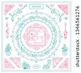 vector set of vintage corners... | Shutterstock .eps vector #1346561276