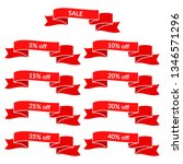 set of red sale ribbons with... | Shutterstock . vector #1346571296