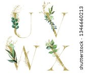 gold floral alphabet set  ... | Shutterstock . vector #1346660213