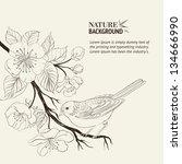 Hand Drawn Bird On Sacura...
