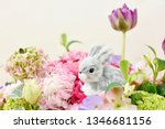 toy rabbit and flowers | Shutterstock . vector #1346681156