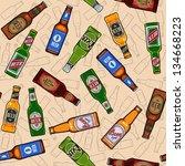 beer bottles seamless pattern   Shutterstock .eps vector #134668223