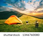 tourist camp in mountains with... | Shutterstock . vector #1346760080