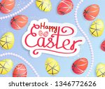 happy easter greeting card with ...   Shutterstock . vector #1346772626