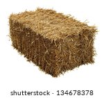 bale of hay isolated on a white ...