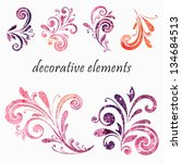 floral design elements. | Shutterstock .eps vector #134684513
