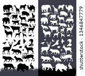 silhouettes set of animals... | Shutterstock .eps vector #1346847779