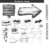 doodle set  arrows   Shutterstock .eps vector #134686004