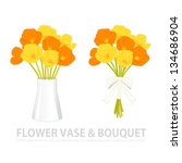 flower vase and bouquet | Shutterstock .eps vector #134686904