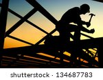 builders are building a wooden... | Shutterstock . vector #134687783