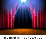 theater wooden stage with red... | Shutterstock . vector #1346878736