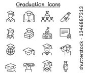 graduation icon set in thin... | Shutterstock .eps vector #1346887313