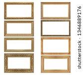 set of golden frames for... | Shutterstock . vector #1346889176