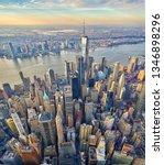 Downtown Manhattan aerial vertical panorama with vertigo effect    - stock photo