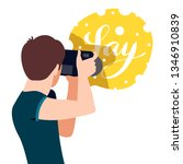 photograph holding photo camera ...   Shutterstock .eps vector #1346910839