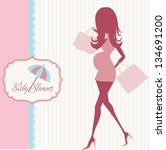 baby announcement card with...   Shutterstock .eps vector #134691200