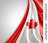 canada flag of silk with... | Shutterstock . vector #1346912210