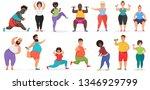 fat cute people doing fitness...   Shutterstock . vector #1346929799
