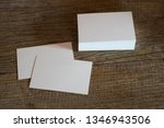 blank business cards on wooden... | Shutterstock . vector #1346943506