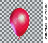 realistic red balloon with... | Shutterstock .eps vector #1346986580