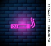 lilac pink neon sign on brick...   Shutterstock .eps vector #1346995793