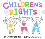 illustration of kids with hands ... | Shutterstock .eps vector #1347001730