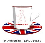 white cup with england flag and ... | Shutterstock .eps vector #1347014669