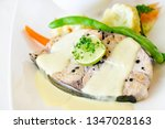 dish of perfectly cooked seer... | Shutterstock . vector #1347028163