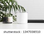 enamel mug mockup with... | Shutterstock . vector #1347038510