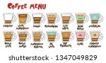 coffee menu. coffee cups.... | Shutterstock .eps vector #1347049829
