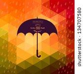 Retro Umbrella Symbol On...