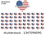 set of heart shaped flag of the ... | Shutterstock .eps vector #1347098090