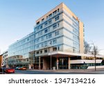 Apartment house residential home quarter architecture with outdoor facilities in city of Graz in Austria. Facade of Modern buidling in town in Styria in Europe.