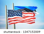 flags of the usa and estonia... | Shutterstock . vector #1347152009